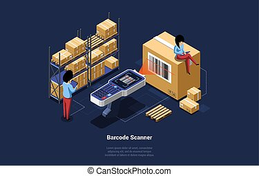 Cartoon 3D Style Vector Illustration With Isometric Objects And Writing. Modern Design Composition Of Big Barcode Scanner Checking Code From Box. Small Male And Female Characters And Packages Around