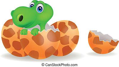 Cartoon a baby dinosaur hatching - Vector illustration of...