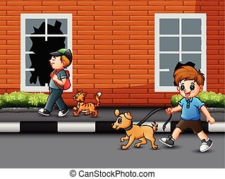 Cartoon a boy walking on the road with his pet