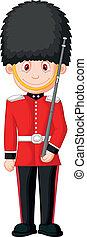 Cartoon a British Royal Guard - Vector illustration of...