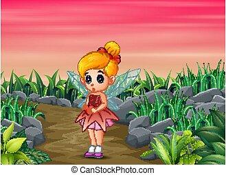Cartoon a cute little love fairy holding a heart