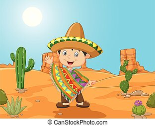 Cartoon a Mexican boy waving hand