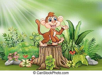 Cartoon a monkey sitting on tree stump with green plants