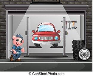 Cartoon a pig mechanic in the car repair garage