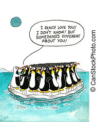 Cartoon about penguins' resemblance - Cartoon gag with a...