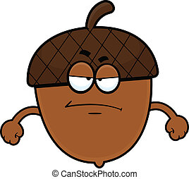 Cartoon Acorn Grumpy - Cartoon illustration of an acorn with...