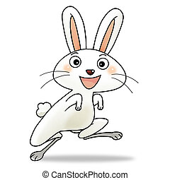 Cartoon action icon of the fourth chinese new year icon character - rabbit.