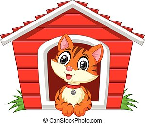 Cartoon adorable cat in the cage