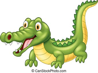 Cartoon adorable crocodile
