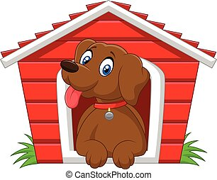 Cartoon adorable dog in the cage