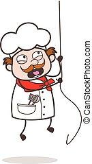 Cartoon Adventurous Chef Climbing Rope Vector Illustration