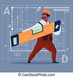 Cartoon African American Builder Holding Carpenter Level Wearing Uniform And Helmet Construction Worker Over Abstract Plan Background