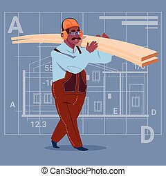 Cartoon African American Builder Holding Planks Wearing Uniform And Helmet Construction Worker Over Abstract Plan Background