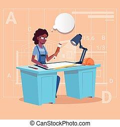 Cartoon African American Builder Sitting At Desk Working On Blueprint Building Plan Architect Engineer Woman