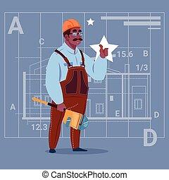 Cartoon African American Builder Wearing Uniform And Helmet Construction Worker Over Abstract Plan Background Male Workman