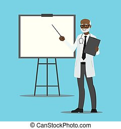 cartoon african american doctor with presentation stand,