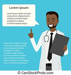 Cartoon african american doctor with speech bubble