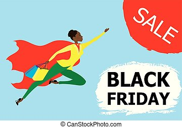 Cartoon african american super woman with red cloak and shopping bags flies for discounts