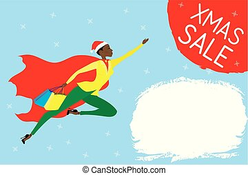 super woman with red cloak and shopping bags flies for xmas sale