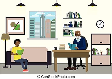 Cartoon african american teenager and grandfather read books...
