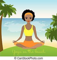 Cartoon african american woman  meditating in lotus pose on tropical beach