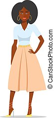 Cartoon African american woman with afro. Vector