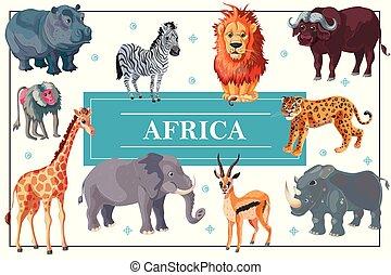 Cartoon African Animals Template