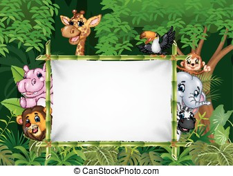 Cartoon african animals with blank