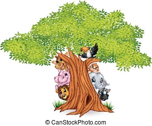 Cartoon african animals with tree