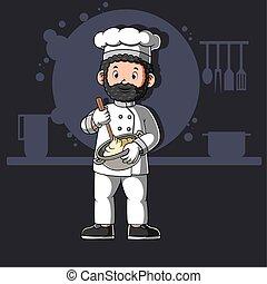 Cartoon african chefs cooking