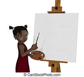 Cartoon African Girl Painting