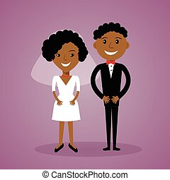 Cartoon afro-american bride and groom. Cute black wedding couple in flat style. Can be used for  invitation, save the date  thank you card.