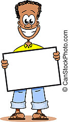 Cartoon Afro American Guy - A young cartoon Afro American...