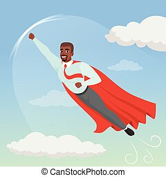 Cartoon afro-american man with superhero cloak flying in blue sky. Professional growth and promotion. Successful businessman character in shirt, tie and pants. Flat vector