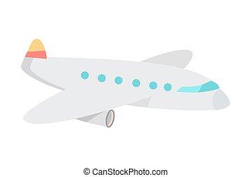 Cartoon Airplane Flat Vector Illustration