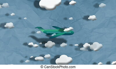 """Cartoon Airplane flying through clouds"""