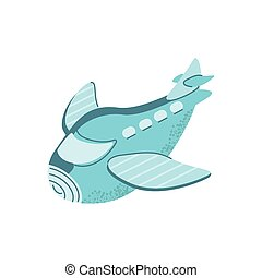cartoon airplane icon, flat style