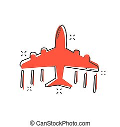 Cartoon airplane icon in comic style. Plane illustration pictogram. Aircraft splash business concept.