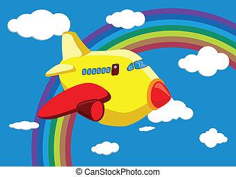 Cartoon Airplane in the Rainbow Sky