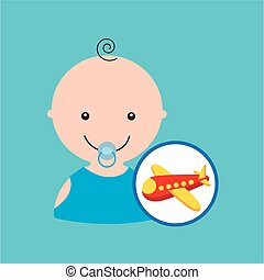 cartoon airplane red toy baby icon
