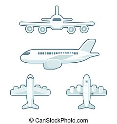 Cartoon airplane set in flat design style. Front view and...