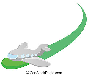 airplane - cartoon airplane with green airway in a white ...