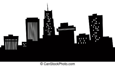 Cartoon Akron Skyline