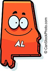 A cartoon illustration of the state of Alabama smiling.