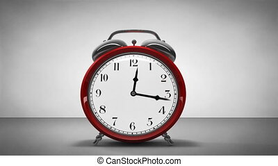 1080p HD video of an old alarm clock spinning up and working hard to spin the it's hands, then it jumps up and the alarm goes off finally it falls over and breaks.