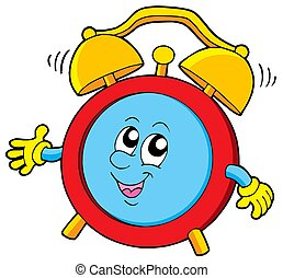 Cartoon alarm clock - isolated illustration.