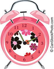 cartoon alarm clock, vector illustration, eps