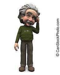 Cartoon Albert Einstein scratching his head, thinking about something. White background.