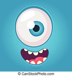 Cartoon alien face. Vector Halloween blue monster with one eye. Package design