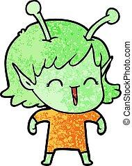 cartoon alien girl laughing